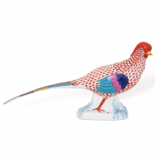 Herend Porcelain Fishnet Figurine of a Gold Pheasant